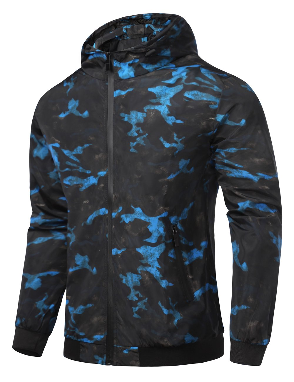 Global Men's Hooded Lightweight Windbreaker Rain Jacket Water Resistant Shell (Black Blue,Medium)
