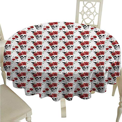 Rose Fabric Dust-Proof Table Cover Watercolor Art Style Skull with Red Roses and Buds Gothic Halloween Pattern Runners,Gatsby Wedding,Glam Wedding Decor,Vintage Weddings D50 Vermilion Black Green -