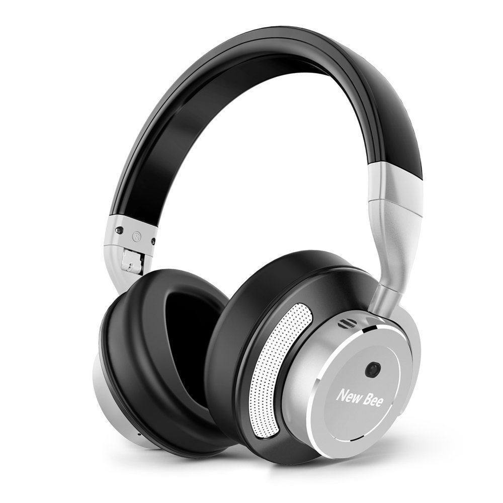 Active Noise Cancelling Bluetooth Headphones, Josphine's Home Wireless Over Ear apt-X Hi-Fi Stereo Foldable Headset Built-in Microphone for Travel/TV/Computer/Cell Phones Soft Protein Earmuffs-Sliver