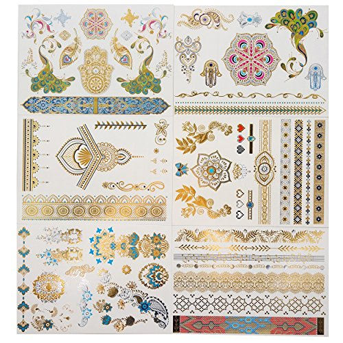 GIFT!!! Tastto 6 Sheets Henna Design Metallic Gold Temporary Tattoos for Women & Girls with Gift (Zombie Temporary Tattoos)