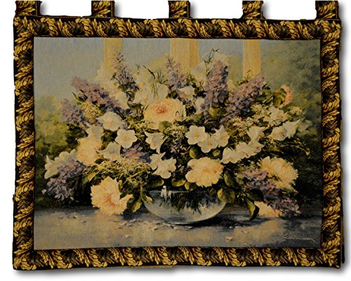 Tache 33 X 24 Inch Woven Floral Flowering Bouquet Tapestry Wall Hanging Art Decor with Hanging Loops