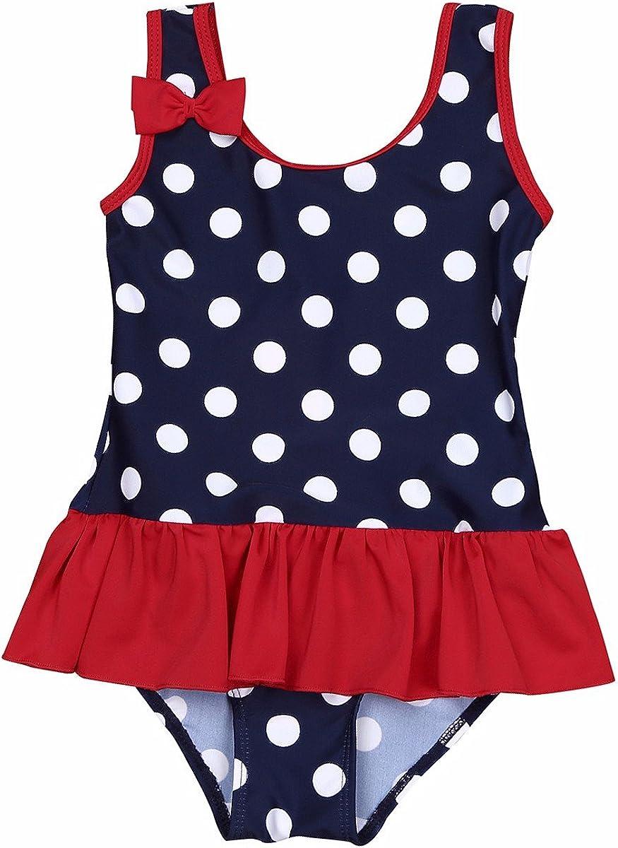 iEFiEL Baby Girls Cute Polka Dot Bow Ruffle Swimsuit Swimwear One-Piece Bathing Suit
