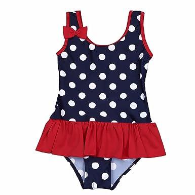 98164deb75fa8 iEFiEL Baby Girls Kids Polka Dots One Piece Bowknot Swimsuit Swimwear  Beachwear Dark Navy 0-