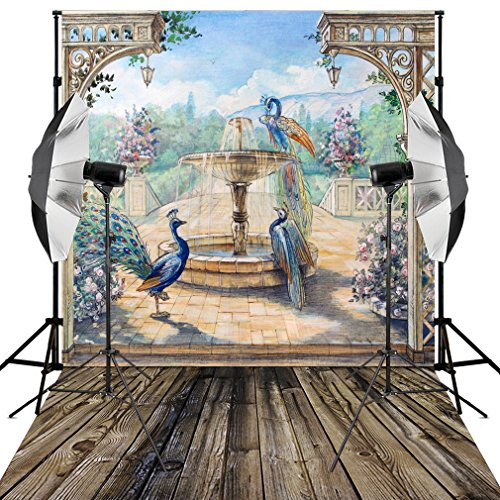 Kooer 6X9ft Fairy tale Backdrop Playground Sightseeing Peacock Flower Fountain Photography Bacground for Studio Props ()