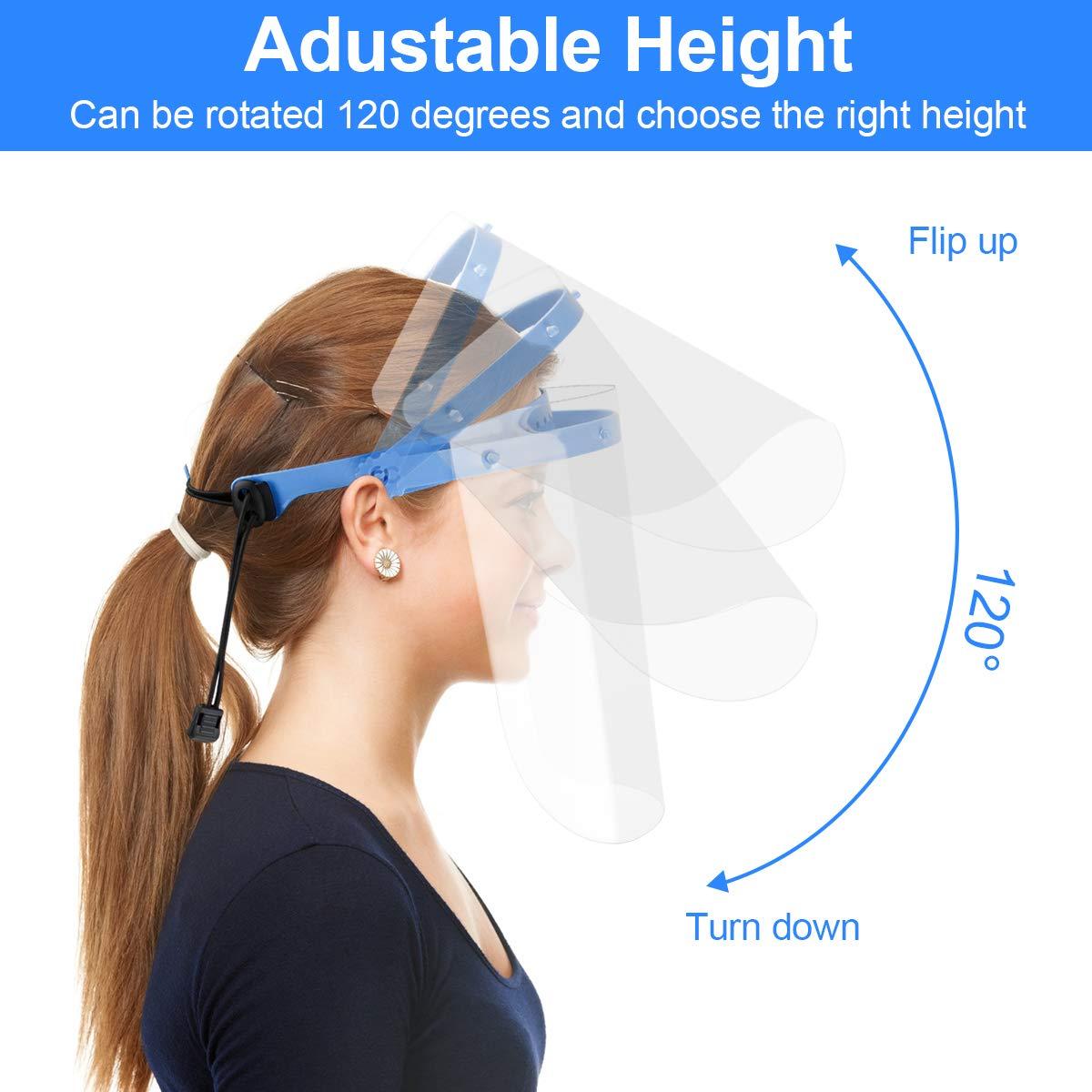 UNTIRE 2 soporte Ajustable y Reutilizable 10 fundas Protector Facial Desmontable Pantalla Protecci/ón Facial Transparente