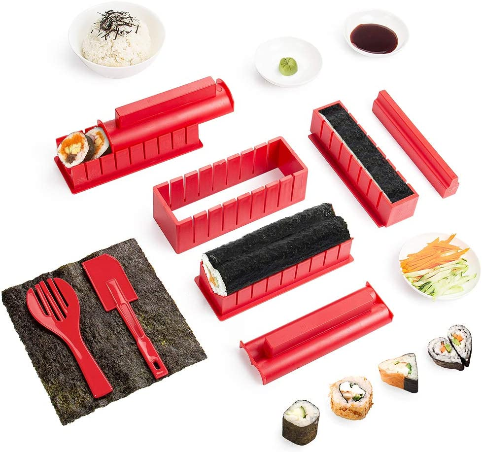 Sushi Maker Kit 10 PCS Moules à Sushi Cuisine Bricolage facile Kit de Préparation à Sushi Sushi set set riz Rouleau Kit Sushi Sushi Maker DIY Cuisine Coffret Complet Convient à Dãbutants (Rouge)