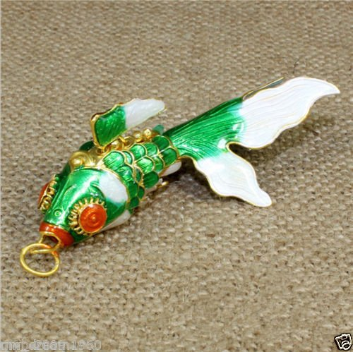 Bingirl Cloisonne Enamel Chinese Green Fish Figurine Pendant Ornament Adornmented Gift (Cloisonne Fish compare prices)