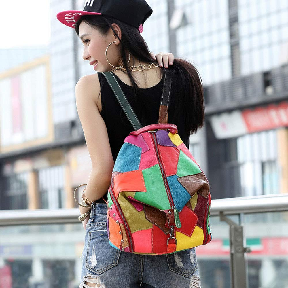 LAIDAYE Bag for Womens Stitching Contrast Color Backpack Trend Punk Bag Female Large Capacity Casual Personality Travel Bag