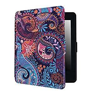 HDE Case for Kindle Paperwhite (2016, 2015, 2013, 2012) – Ultra Slim Cover Auto Sleep/Wake Smart Shell for All-New Amazon Kindle Paperwhite (Fits All Versions) - Purple Paisley