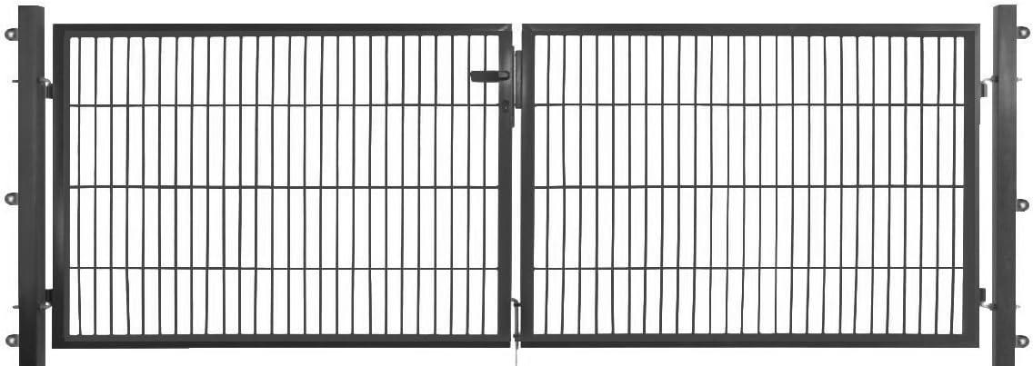 Doble hoftor – Puerta 400 x 120 cm verde/antracita Jardín Valla Puerta para vallas jardín valla, gris: Amazon.es: Jardín