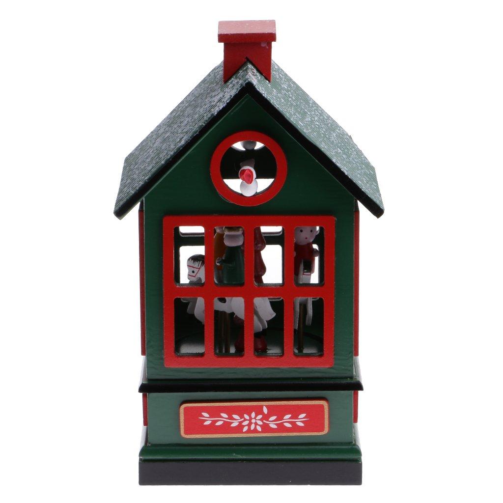 【メール便不可】 monkeyjack子供パーティー祭Supplies Up Woodenクリスマスハウス音楽ボックスWind Up Toy Collectiblesホーム装飾グリーン Toy B076VHVS3C, カビ屋:47c672ac --- arcego.dominiotemporario.com