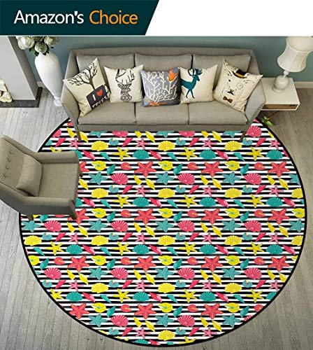 DESPKON-HOME Starfish Round Area Rug,Black and White Stripes with Colorful Cartoon Shellfishes Oyster and Seastars Design Non-Slip Fabric Round Rugs for Living Room Round-59 Inch,Multicolor