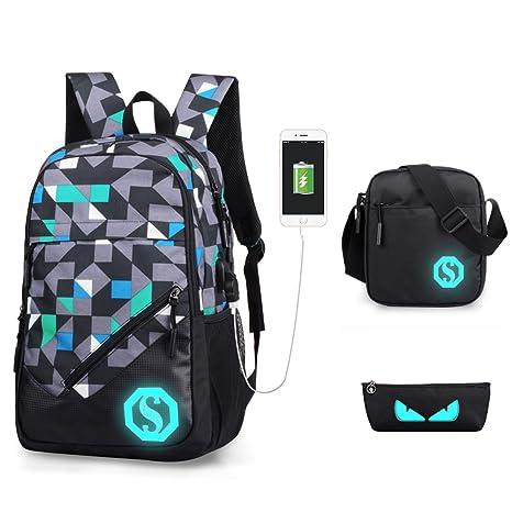 0dfd4ee2c6830 Rucksack USB wiederaufladbare Schulrucksack Set Oxford Tuch Laptop Tasche  Rucksack Daypacks Backpack Schulrucksäcke Umhängetasche Federmäppche für