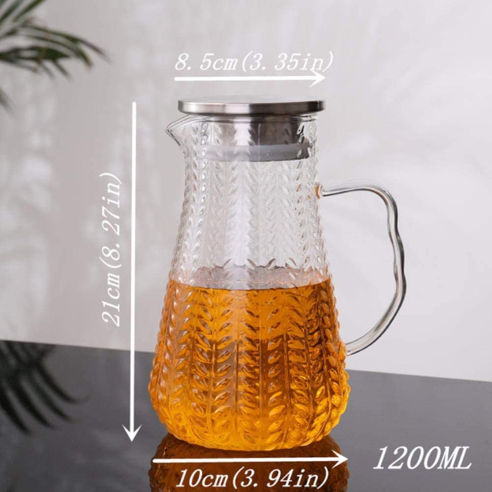 LCK Glass Infuser Teapot Tea Pot with Stainless Steel Filter Lid Handle Container For Juice Creative,1200mlStainlessSteel