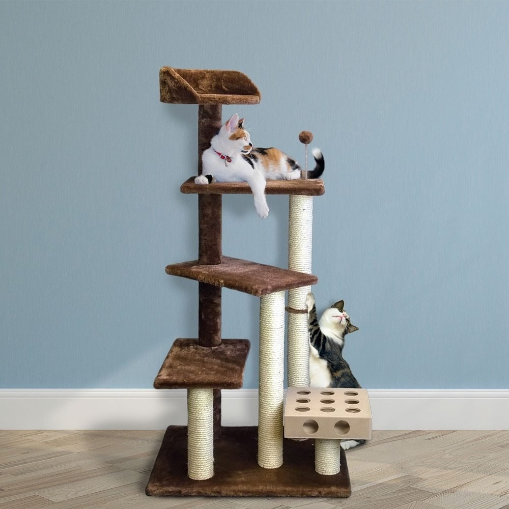 1 Piece Brown 49.5 High Comfort Scratcher Cat Condo, Brown Stairs Pet Tree House Kitty Perch Bed, Stable Playground Climbing Platforms Jingle Bell Ball Iq Toy Elevated Removable Cover, Sisal Rope