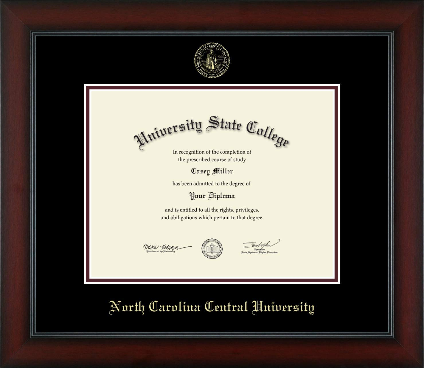North Carolina Central University - Officially Licensed - Gold Embossed Diploma Frame - Diploma Size 11'' x 8.5''