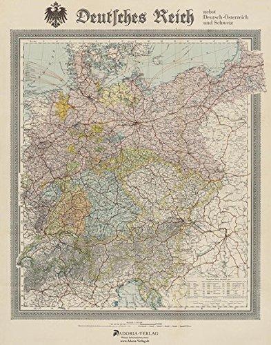 Deutsches Reich nebst Deutsch-Österreich und Schweiz: Historische Landkarte, ca. 1904