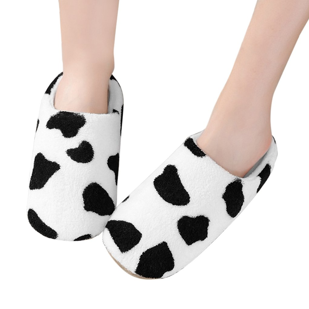 Womens Indoor Warm Fleece Slippers, Ladies Girls Lovely Cartoon Winter Soft Cozy Booties Non-slip Fuzzy Plush Mules Home Bedroom Slip-on Shoes Ankle Boots (US size: 5/6(EUR size: 36/37), Milk Cow)