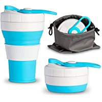 Collapsible Coffee Cup Travel Mug Silicone Reusable with Water Resistant Pouch for Travel Camping Portable Handbag Office 450ml
