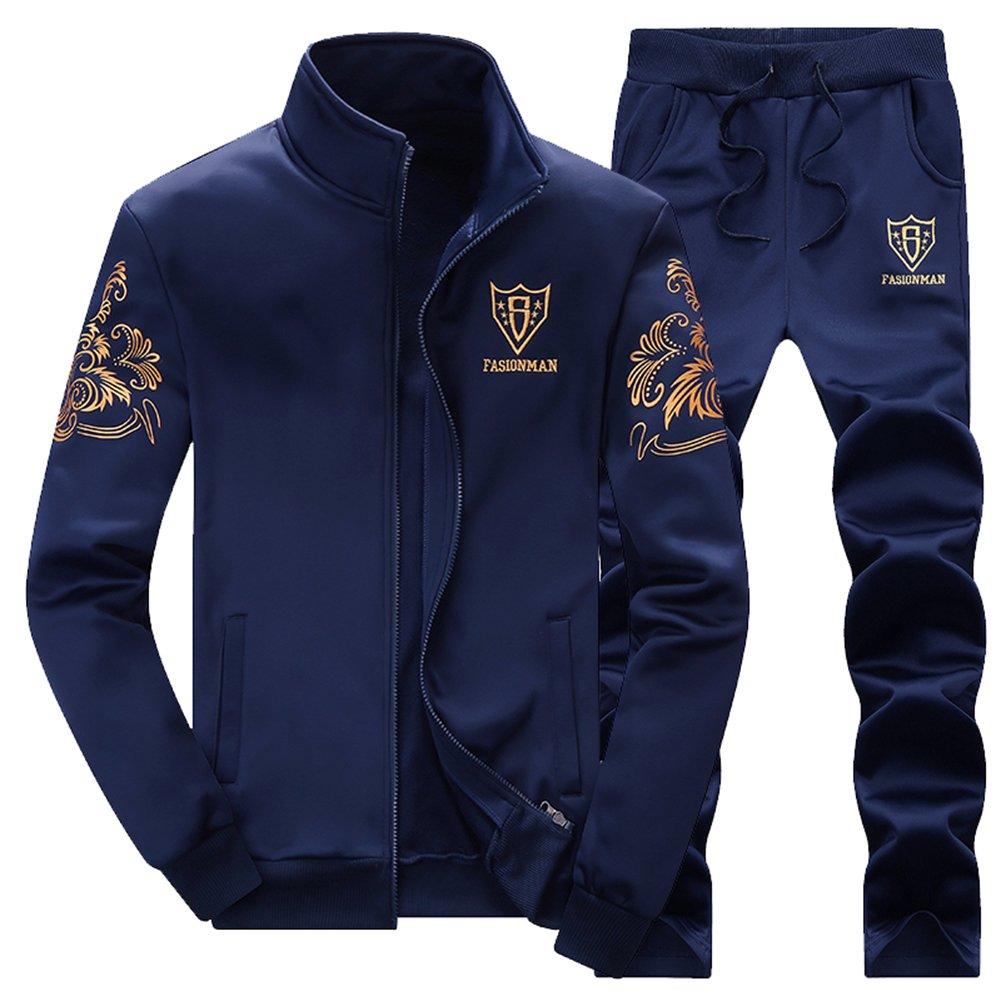 Zaquarius Men's Activewear Casual Jogging Suits Running Tracksuit,Navy,Tag 4XL=US XL