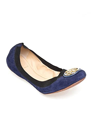 6ee60c6f3 Image Unavailable. Image not available for. Color  Tory Burch Caroline 2 Soho  Lux Blue Black Suede Ballet Flat Shoe ...