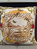 Custom made House of Cartier authentic silk scarf pillow 34 x 34'' features iconic panther