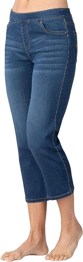 Femme Strass Manchette Crop Jambe Capri Jeans Stretch Rose Pastel 14-24