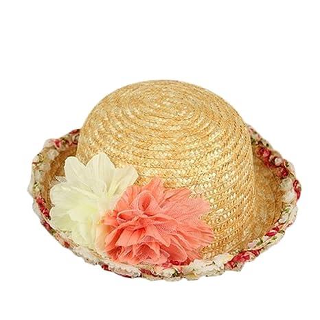WA Princesa niñas niños Verano Gorro Gorra Sombrero de Paja Tejida Sombrero  de Paja d5fb398e457