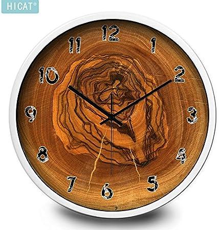 Anillos de los árboles estilo de personalidad reloj de pared dormitorio cocina sala de estar tendencia creativa hogar reloj de cuarzo grande, 12 pulgadas, rueda CG050 aguja negra marco de oro blanco