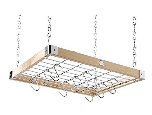 Hängeregal decke  Hahn Ceiling Rack Square Wooden: Amazon.co.uk: Kitchen & Home