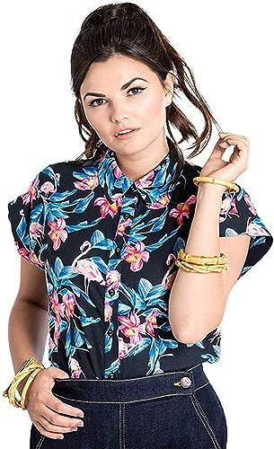 Hell Bunny Florida Flamenco Floral Años 50 Camisa Top - Negro, UK 8 (XS): Amazon.es: Ropa y accesorios