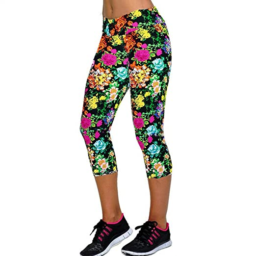 1bef2b8587f1e Women's Colorful Active Running Leggings Stretch Yoga Sports Capri Pants  Thick and Dry Fit Below Knee