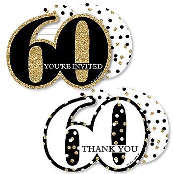 Juego de invitaciones de 60 cumpleaños para adultos, color ...
