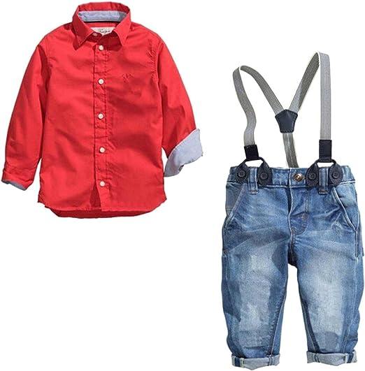 Dehutin 2017 Niños Moda Conjunto de la Ropa 2 Piezas Camisas Roja y Peto Vaquero Overall Jeans: Amazon.es: Ropa y accesorios