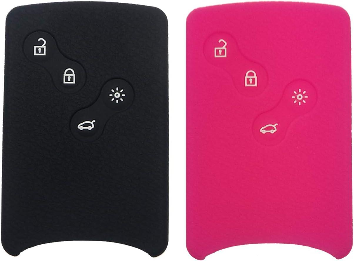 Coque en silicone pour carte de d/émarrage de voiture /à 4 boutons Coolbestda rose