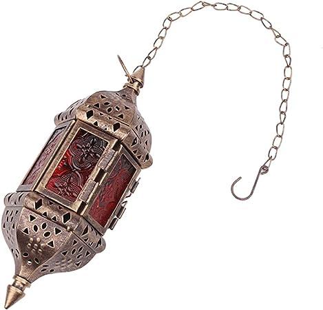 Blanco Asenart /® l/ámpara de Vela Colgante L/ámpara marroqu/í Retro Candle Holder Marroqu/í Vintage Metal Hollow Boda sosteniendo Vela titulares Lanterna Contener Cadena de 40 cm