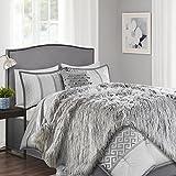 Chanasya Soft Shaggy Fuzzy Fur Long Mangolian Faux Fur Cozy Elegant Chic Decorative Silver Light Grey Microfiber Throw Blanket (50'' x 65'')- Light Grey Long Mangolian fur