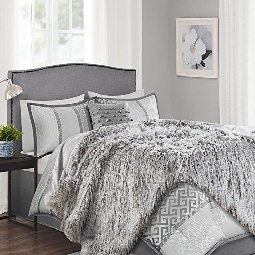 Silver Fur (Chanasya Soft Shaggy Fuzzy Fur Long Mangolian Faux Fur Cozy Elegant Chic Decorative Silver Light Grey Microfiber Throw Blanket (50