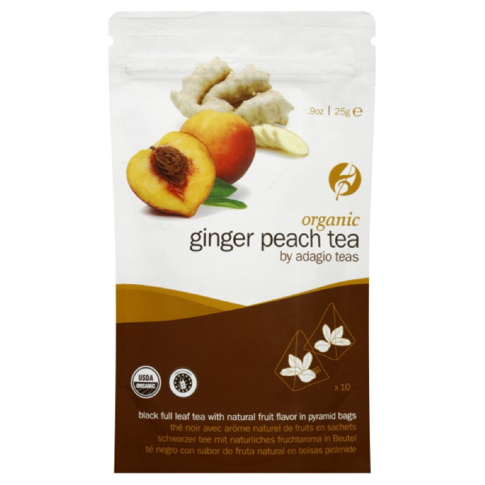 Adagio Tea Organic Ginger Peach Black, 10-Count Pyramids (Pack of 3)
