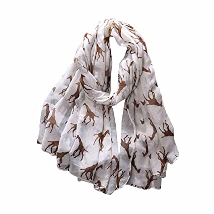 8c72ff14b771f Image Unavailable. Image not available for. Color: Giraffe Printed Soft Lace  Chiffon Scarf ...