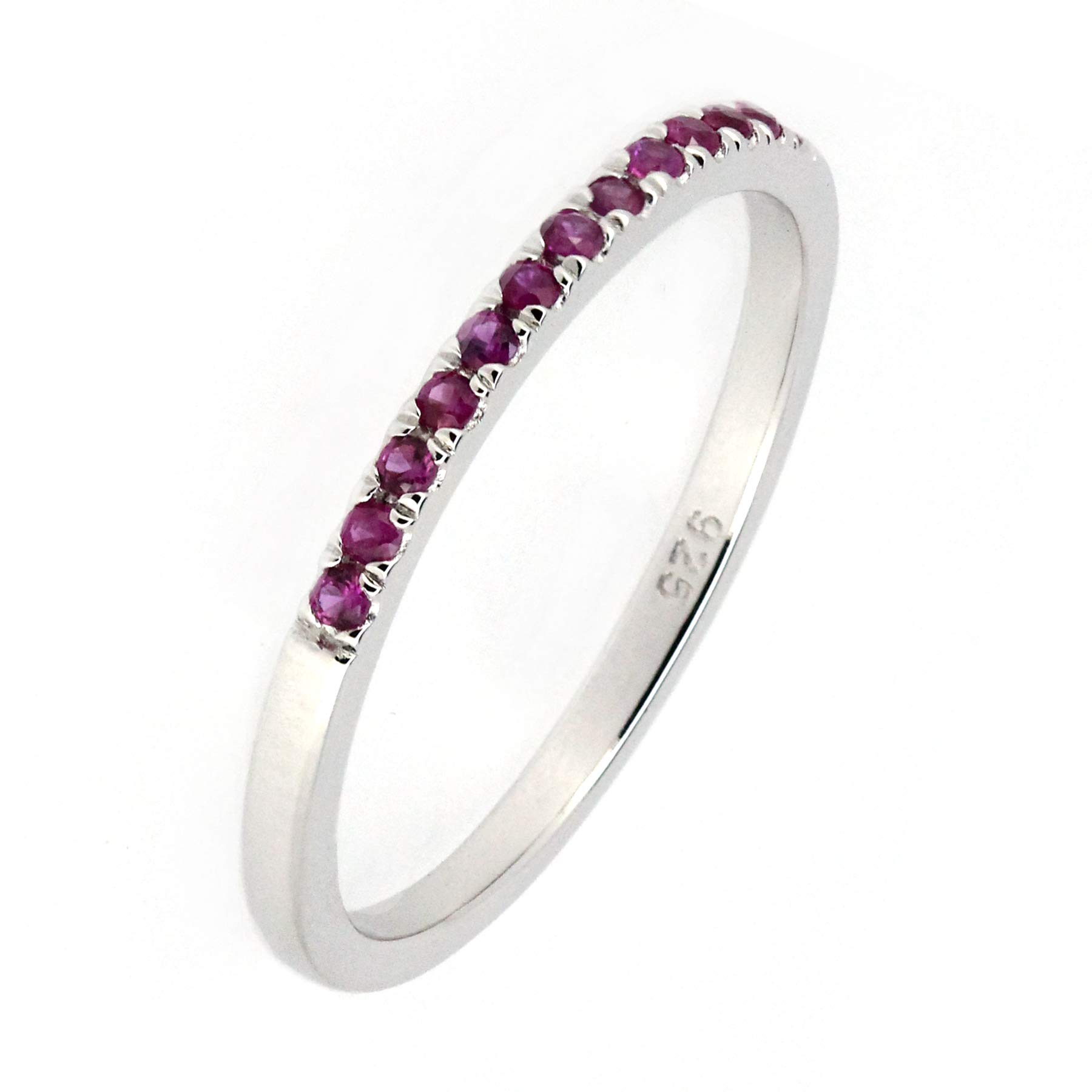 Sterling Silver Genuine Natural Ruby Half Eternity Band Ring by ByLove Jewelry