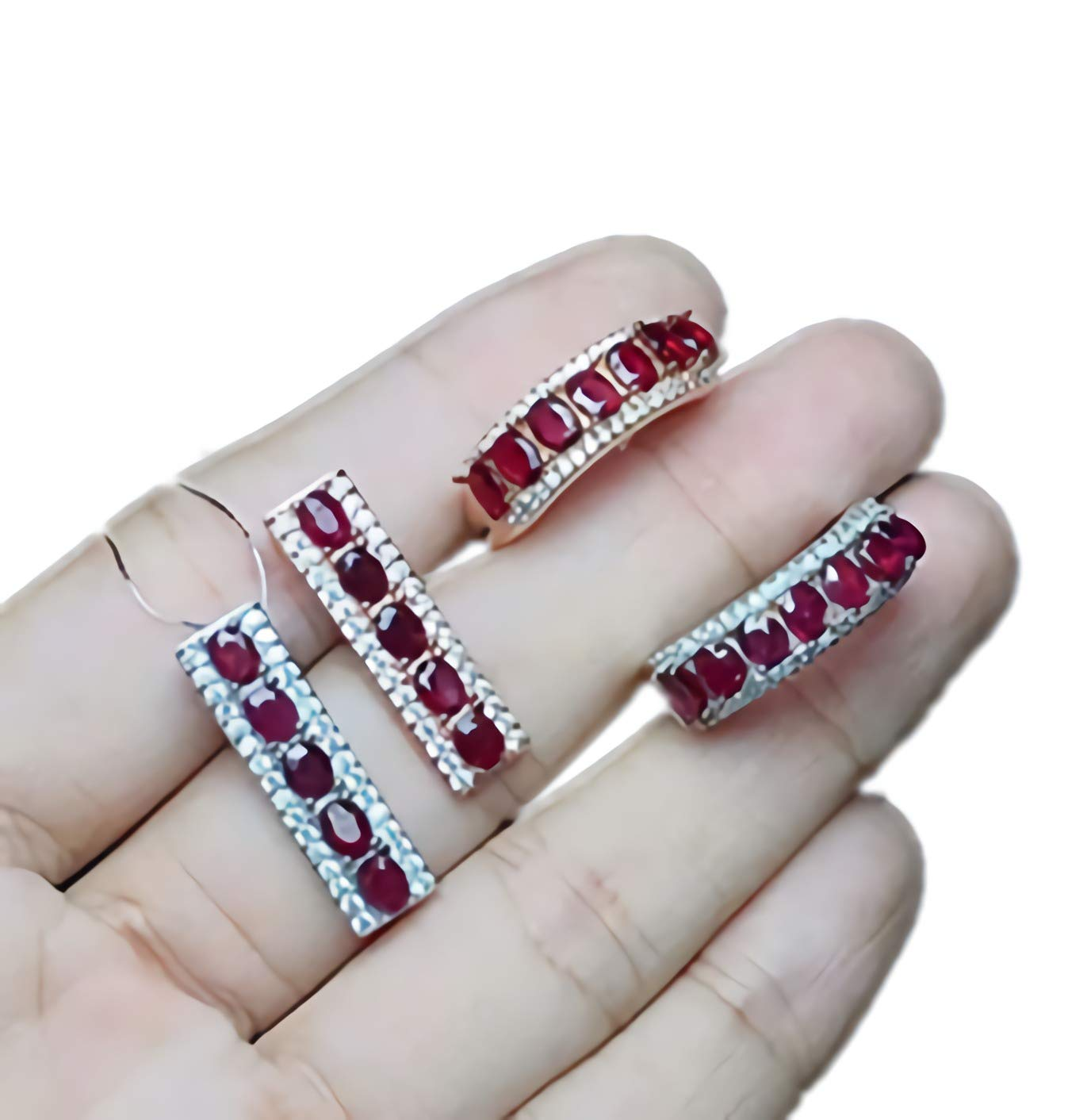 Sterling Silver Jewelry Women July Birthstone Natural Red Ruby Ring Earrings Pendant Set Engagement Cocktail Wedding Art Deco Aesthetic