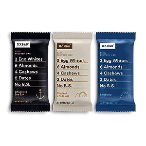 RXBAR Chocolate Sea Salt, Coconut Chocolate, Blueberry Variety Pack, Protein Bar, High Protein Snack, Gluten Free, 1.83 Oz, 24 Count