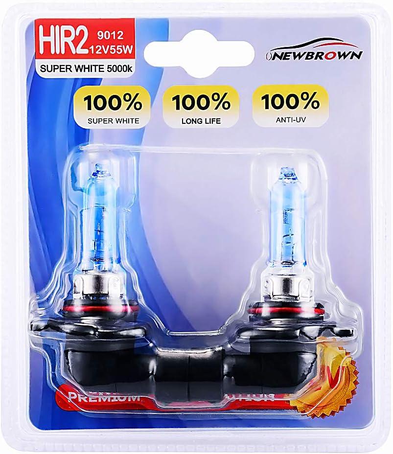 9012 HIR2 Halogen Headlight Bulb with Super White Light fog lights PX22D 12V/55W 5000K, 2 Pack,Long Life
