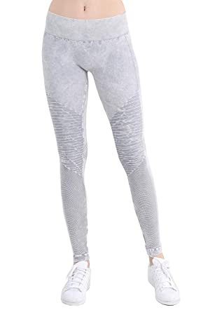 12ba2f98367562 Nikibiki Womens Seamless Vintage Moto Leggings One Size Vintage Cool Grey