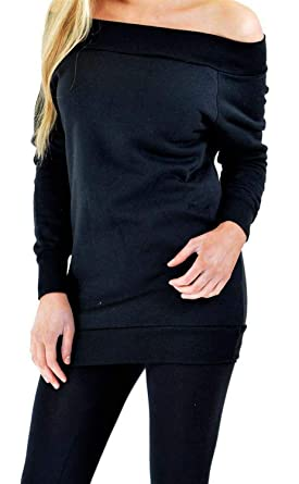 feb5b6bdfdea CHOCOLATE PICKLE New Womens Long Sleeve Off Shoulder Winter Thermal  Knitwear Sweatshirt Jumper Tops Black 8