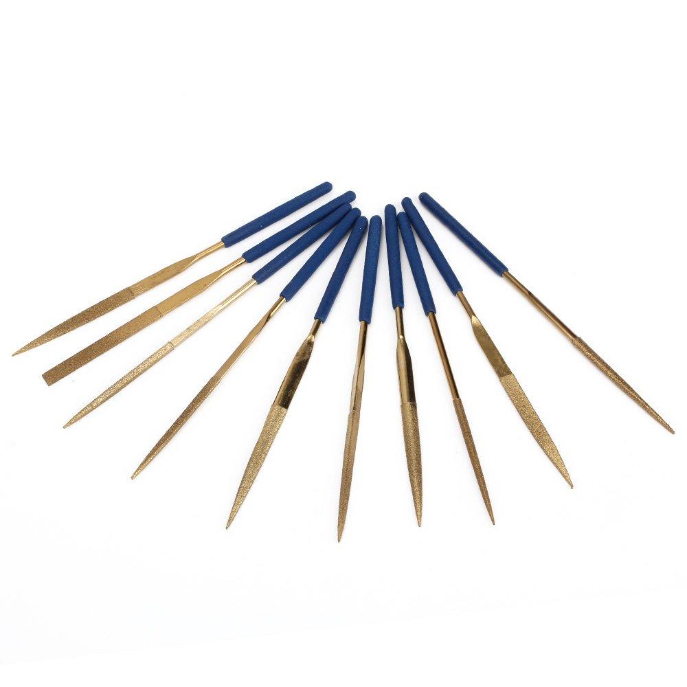 CNBTR 3x140mm Gold & Blue Diamond Coated Needle File Set Filing Tool Pack of 10 yqltd BHBUKALIAINH2286