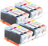4 Go Inks C/M/Y Set of 3 Ink Cartridges to replce Canon CLI-521 Compatible / non-OEM for PIXMA Printers (12 Pack)