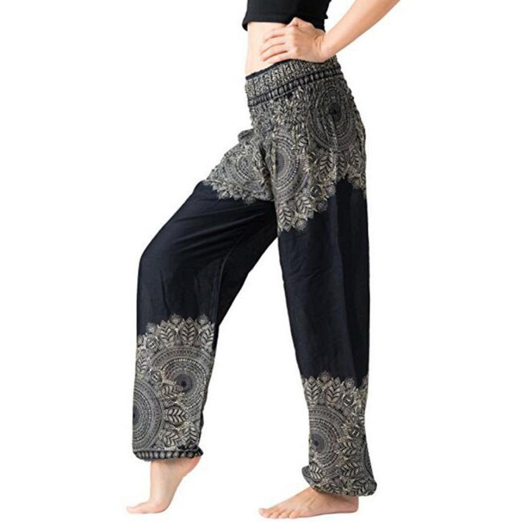 Italily Donne Harem Tailandese Pantaloni Yoga Boho Festival Grembiule Hippy A Vita Alta Yoga Pantaloni, Pantaloni Donna Harem Boemo Casual Aladdin Spiaggia Harem Pants Dimensione libera)