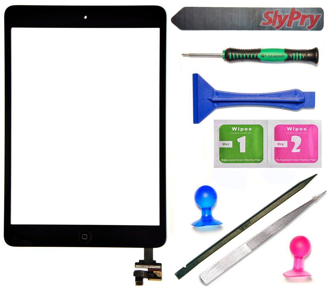 Prokit Adhesive® Black iPad Mini Touch Screen Digitizer Complete Assembly with IC Chip | Home Button replacement with SlyPry tool kit Ships from CA USA